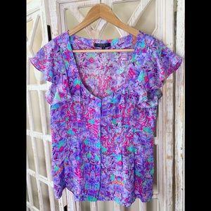 Nanette Lepore size 8 silk floral neon blouse
